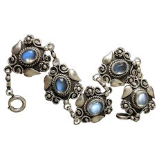 Arts and Crafts Blue Moonstone Bracelet in Sterling Silver, Bright Blue Moonstones