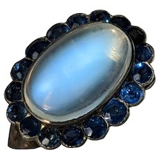 Art Deco Moonstone and Verneuil Sapphire Dress Clip, Pendant or Brooch, set in Sterling Silver, Enormous 13 carat moonstone