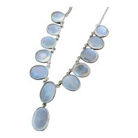 Art Deco Moonstone Fringe Necklace with Silvery Moonstones