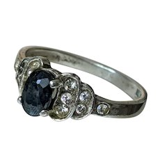 True Art Deco Sterling Silver and Sapphire Ring with Paste Stones, US 6