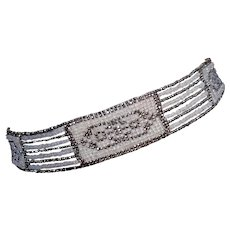 True Art Deco 1920's Woven Metal Work Collar in Silver and Ivory, Wonderful Condition