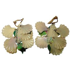 Art Deco Drop Sequin Earrings in Mother of Pearl colours