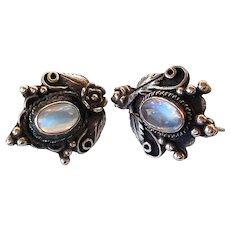 Ceylon Blue Moonstone Earrings set in Sterling Silver, 1940's or 1950's, Beautiful Blue Stones