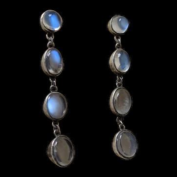 Ceylon Blue Moonstone Drop Earrings, 1930's approx, in Sterling Silver