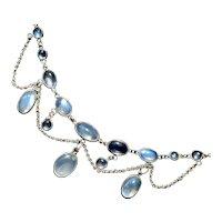 Ceylon Blue Moonstone Festoon Necklace in Sterling Silver