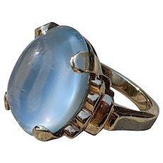 Art Deco Ceylon Blue Moonstone 14K Gold Ring, Huge 10 carat moonstone
