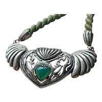 Winged Heart 835 Silver and Chalcedony Necklace on Silk, vintage