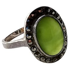 True Art Deco 1920's or 1930's Chalcedony Ring, set in Sterling Silver