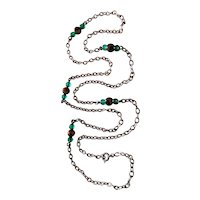 French Chrysoprase and Tiger's Eye Sautoir in Sterling Silver, 84 cm long