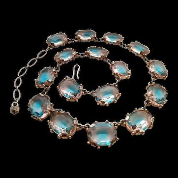 Czech Bi-colour Glass Necklace, with Stones that Resemble Saphiret