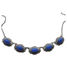 Edwardian Solid Silver Necklace with Blue Paste Cabochons