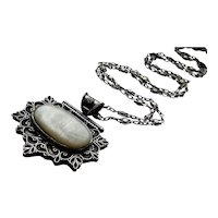 Vintage Egyptian Lotus Necklace in 800 Silver with Ornate Chain, Huge Pendant and Metre Long Silver Chain