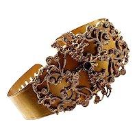 Georgian 1820's - 1830's Cannetille Bracelet with Flat Cut Garnet Paste Stone