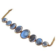 Antique 9K Gold Ceylon Blue Moonstone Bracelet, Water Clear Bright Blue Moonstones