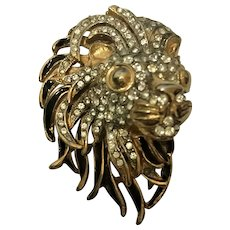 Gold tone, enamel and rhinestone lion head pin probable jobber piece