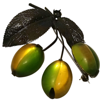 50's Glowing Yellow and Green Lucite Olive Pin Japanned Metal