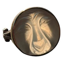Antique Moonstone Man in the Moon Ring in 14 K Gold, Wonderful Carving and Expression