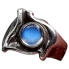 Modernist Mid-Century Solid Silver Ring with Amazing Bright Blue Ceylon Moonstone