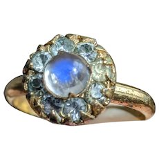 Antique or Old Vintage Ceylon Moonstone and Paste Halo Ring, gold plated