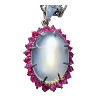 Moonstone (lab) and Verneuil ruby pendant in Sterling Silver