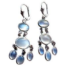 Ceylon Blue Moonstone Drop Earrings, set in Sterling Silver
