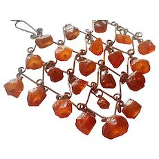 Raw Baltic Amber Necklace with Intricate Chain