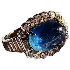 5.75 Carat Cornflower Blue Sapphire and 0.5 Carat Diamond Ring in 14K Gold