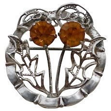 Scottish Ward Brothers Sterling Silver Thistle Pin Brooch with Glass Citrine