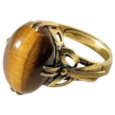 Bow Ring from 1940's or 1950's with Tiger's Eye, in Sterling Silver Vermeil