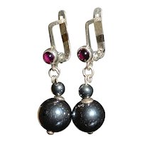 Chinese Export Silver, Pink Garnet and Haematite Drop Earrings