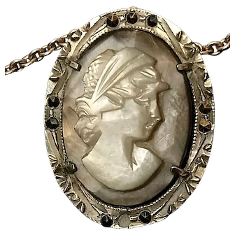 Antique Italian 800 Silver Shell Cameo with Cut Steel Decoration