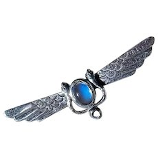 Vintage Sterling Silver and Ceylon Blue Moonstone Winged Sun Brooch, 70's