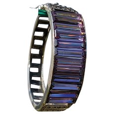 Sterling Silver and Purple Glass Bracelet, 1940's or 1950's