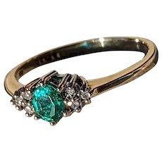 Vintage Teal Tourmaline and Diamond 9 CT Ring by Robert Glenn of Hatton Garden