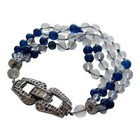 True Art Deco Bracelet with Huge Chrome Clasp and Multiple Strands