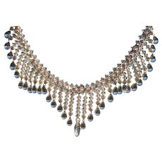 True Art Deco Necklet with Lead Crystal tear drops, really intricate beadwork