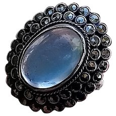 True Art Deco Ceylon Blue Moonstone, Marcasite and Sterling Silver Ring, very large