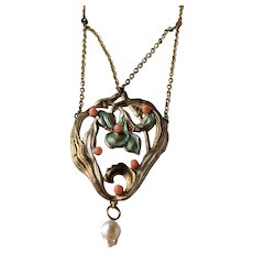 True Art Nouveau Iris Necklace, Very Large Pendant in Gilded and Enamelled Brass and Glass Pearls