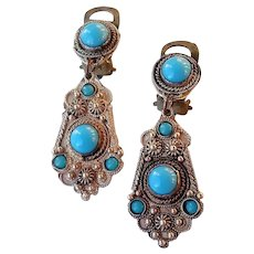 1920's or 1930's 900 Silver Drop Earrings with Turquoise Glass Cabochons