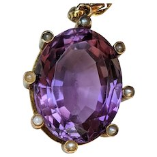 Antique Victorian Amethyst Pendant in 18 K Gold with 14 K Gold Chain, Enormous and Opulent