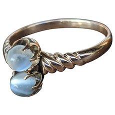 Antique Victorian Ceylon Blue Moonstone and 10K Rose Gold Toi et Moi Ring