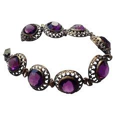 Victorian Violet Paste Bracelet, set in Brass Links