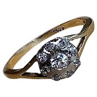 Antique Victorian 18 K Gold and Diamond Cluster ring, size 6 1/2 US, M 1/2 UK, 53 EUR