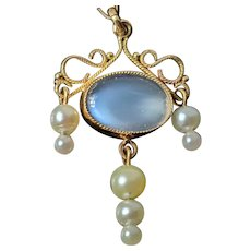 Antique Victorian 9 ct Gold Ceylon Moonstone Pendant