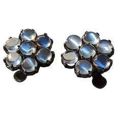 Vintage Blue Moonstone Flower Earrings, set in Silver