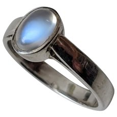 Vintage Ceylon Moonstone Ring in Sterling Silver, US 5 1/2