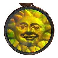 Vintage Hologram Pendant with Smiling Sun Design
