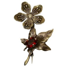 40's Wild Rose Pin in Sterling Silver with Ruby Rhinestone Fruit