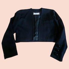 50a909c735c Yves St Laurent Variation early 80's Black Jacket in Gabardine, size 6 US