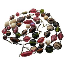 30's Venetian Tourmaline Coloured Handmade Glass Opera Necklace